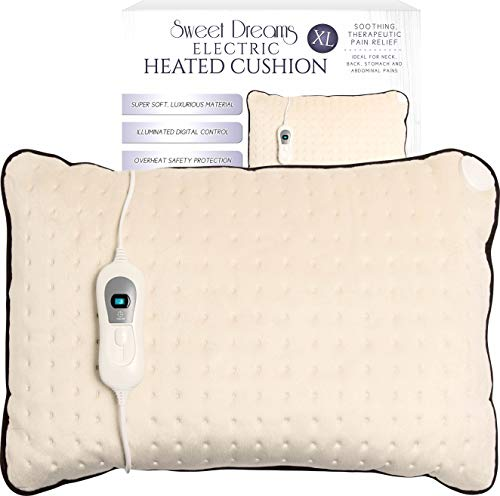 Sweet Dreams Electric Heated Cushion Extra Large, XL Pillow/Heat Pad for Back Pain & Arthritis - Digital Control with 3 Heat Settings & Auto Safety Switch Off After 90 Minutes (Beige, 60 x 40 x 14cm)