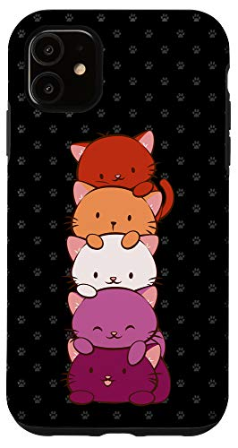 iPhone 11 Orange Pink Lesbian Pride Flag Cute Kawaii Cat Case