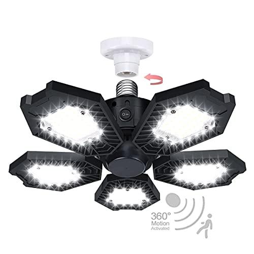 Motion Sensor Garage Light, 150W Deformable LED Garage Light, Super Bright 15000LM Garage Lights with Motion, Ultra Bright Garage Lights Motion Activated LED Shop Light for Garage, Workshop, Basement