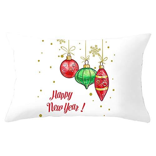 Homxi Funda Cojin 30x50 Navidad,Fundas Cojines de Poliéster Bolas de Decoración de Navidad y Copo de Nieve Happy New Year,Funda Cojin Navidad Cuadros Blanco Oro Rojo