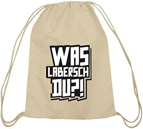 Shirtstreet24, WAS LABERSCH DU?! Baumwoll natur Turnbeutel Rucksack Sport Beutel, Größe: onesize,natur