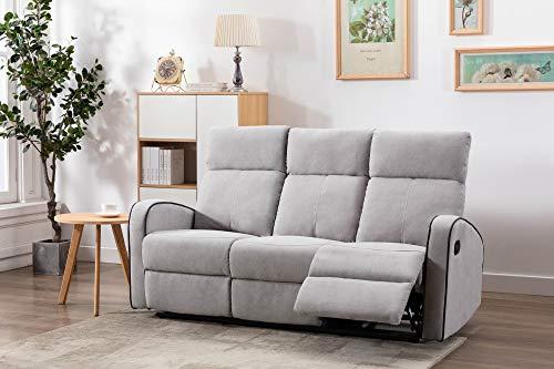 Athon furniture Light Grey Fabric Stylish 3 Seater Recliner Sofa