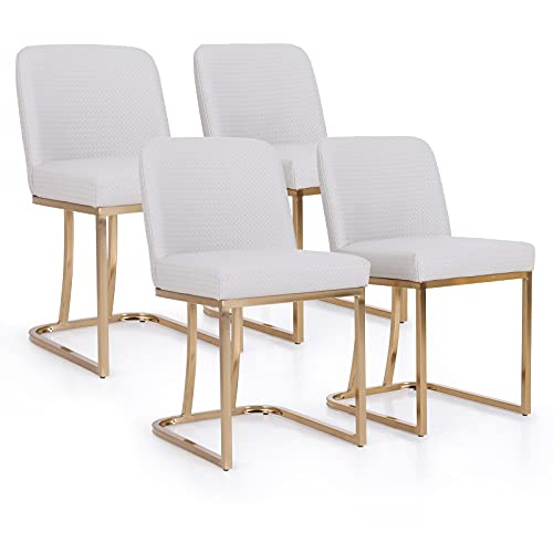 MAISON ARTS Dining Chairs Set of 4 for Kitchen & Dining Room Modern Upholstered Accent Chairs for Bedroom Living Room Water Resistant Faux Leather Comfy Chairs for Hotel Cafe, Light Beige