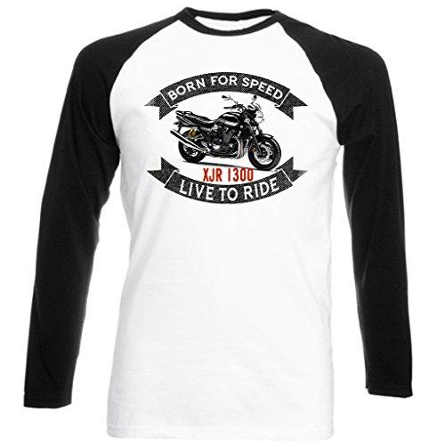 TEESANDENGINES Yamaha XJR 1300 Camiseta DE Mangas Negra LARGAS T-Shirt Size Large