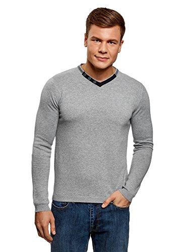 oodji Ultra Hombre Suéter con Cuello Pico y Botones Decorativos, Gris, ES 50 / M