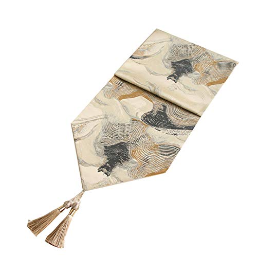 Aiovemc Ink Rendering Table Runner For Art Dinner, Wedding Decoration, Fashion Dining Table, Shoe Cabinet, TV Cabinet (32 * 160cm) Beige