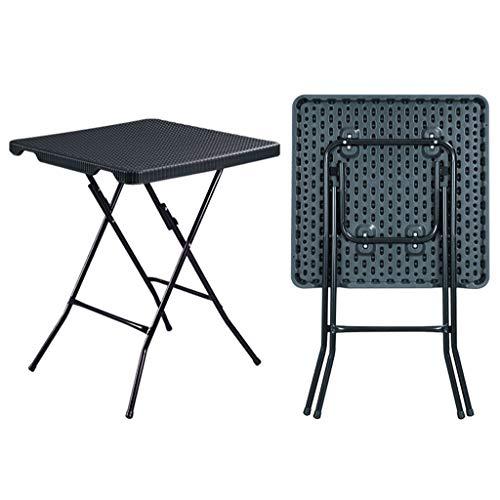 Mesa cuadrada plegable con patas de metal, para televisión, aperitivos, cenas, portátil, portátil, portátil, multiusos, fácil transporte (color: negro)