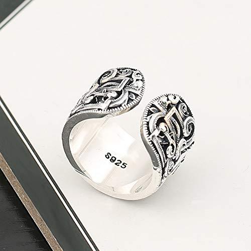 Keai 925 Sterling Silber Schmuck schnitzen Retro-Lebensdauer-Druck-Ring europäischen und amerikanischen Männer offenen Ring Ring