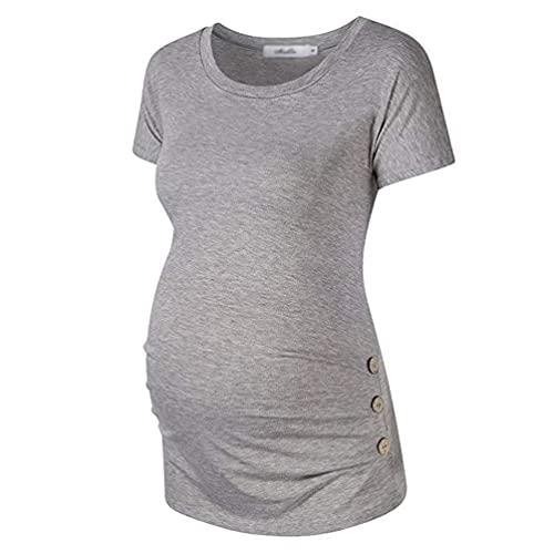Xinwcang Camiseta Premamá Enfermería de Manga Corta Cuello Crew, Pliegues y Botones Ropa Maternidad Lactancia Embaraza Top - Gris, XL