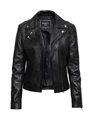 BRANDSLOCK Womens Slim Fit Leather Biker Jacket Crop Zip BNWT XX-Large(16) Black