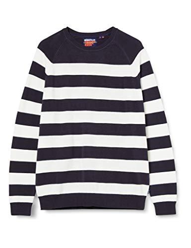 Superdry Orange Label Striped Cotton Crew Camisa Manga Larga, Azul (Rinse Navy Mega Stripe 3gr), M para Hombre