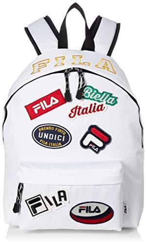 [フィラ] リュック メンズ レディース 大容量 リュックサック カジュアル ワッペン 18l a4サイズ 通学 通勤 旅行バッグ ブランド 軽量 ロゴ FM2142 ホワイト F