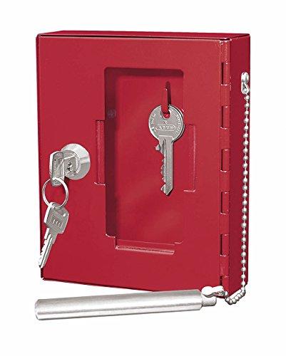 Wedo 10250102X Notschlüsselkasten (mit Klöppel Pulverbeschichtetes Stahlblech, 1 Haken) rot