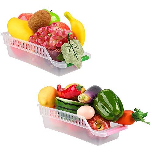 E-Senior Kühlschrank Organizer, Kühlschrank Schubladen, Stapelbar Kühlschrank Ordnung ür Gefrierschrank, Küche, Arbeitsplatten, Schränke (Zufällige Farbe) (2Stück)
