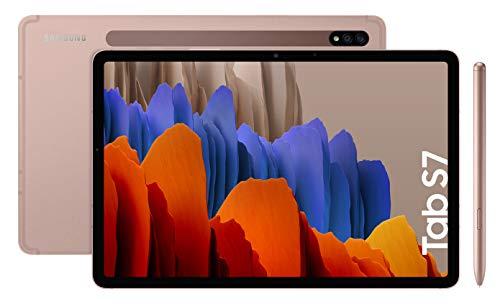 """Samsung Galaxy Tab S7 - Tablet de 11"""" con pantalla QHD (Wi-Fi, Procesador Qualcomm Snapdragon 865+, RAM de 6GB, ROM de 128GB, Android 10 actualizable) - Color Bronce [Versión española]"""