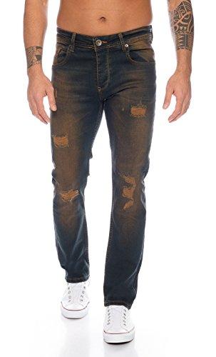 Rock Creek - Jeans da uomo in denim elasticizzato, vestibilità normale, slavato, W29-W44 Rc-329-Dirtywash 36 W/38 L
