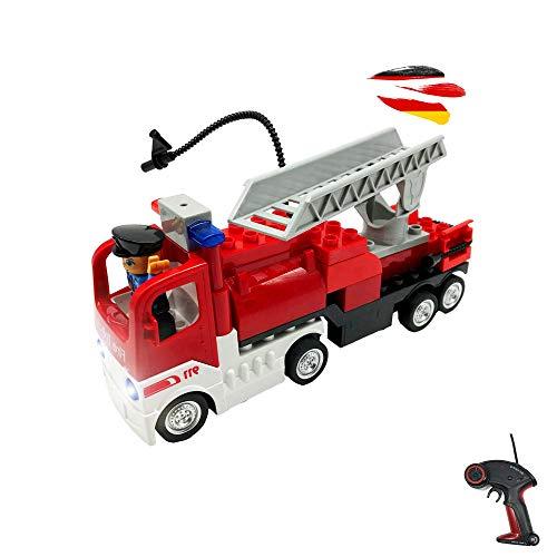 Camión de bomberos teledirigido RC de bloques de construcción con mando a...