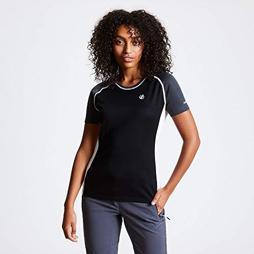 Dare 2b Damen Dwt494 06n10l Fixate' Active Short Sleeve T-Shirts/Polo-Hemden/Westen, Schwarz/Ebenholzgrau, 36