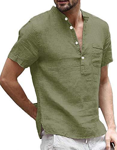 Henley - Camisa de lino para hombre (manga corta, corte regular, con bolsillo) verde oscuro XL