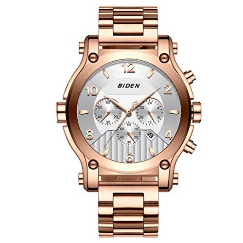 Reloj de pulsera de cuarzo de moda para hombre, reloj de negocios simple con tres esferas pequeñas, para amigos, familias(Oro rosa)
