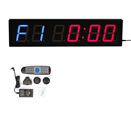 CKB Ltd dígitos LED cuenta atrás intervalo de gimnasio y fitness incluye UK Plug & mando a distancia temporizador cronómetro reloj de pared para clubes deportivos escuelas Tabata CROSSFIT