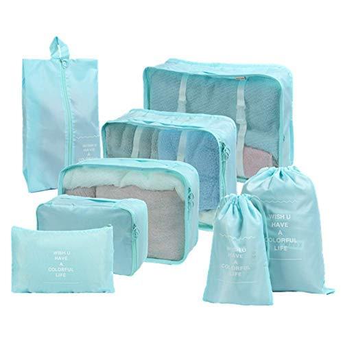 Nifogo Organizador de Equipaje Bolsas de Equipaje Impermeable Embalaje de Viaje Bolsas de Almacenamiento para Ropa Zapatos Cosméticos Accesorios (Azul)