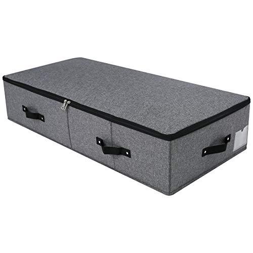 Caja de almacenamiento plegable debajo de la cama, 6 asas, tapa con cremallera, mantas, edredones de ropa, organizador de dormitorio y armario, 90 x 42 x 18 cm, negro gris