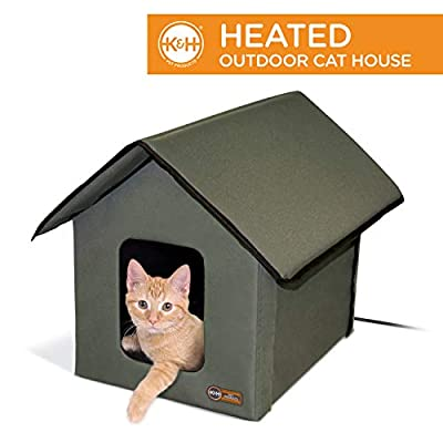 K&H Pet Products Outdoor Heated Kitty House Cat Shelter Olive 18 X 22 X 17 Inches