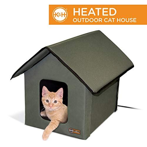 K&H Pet Products Outdoor Heated Kitty House Cat Shelter...