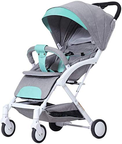 LAMTON Baby Stroller for Newborn, Stroller, Lightweight Pushchair Compact Buggy Foldable Suitable for Airplane,49x71x104cm (Color : Gray) LAMTON Adjustable handlebars for people of all heights can adjust the most comfortable push position Easy to fold, can be picked up in the trunk of the car, his parents urge him to go shopping, travel, walk, play and talk, or picnic outdoors - Quick folding system. It can be operated with one hand and folded with a lever to stand. The weight is 5.8KG and is light! 1
