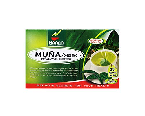 Hanan Peruvian Secrets Muna Herbal Tea   100% Natural Andean Mint Leaves   25 Tea Bags   Naturally Supports Healthy Digestion and Kidney Function - 3 Pack