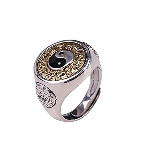 QLJYT Anillos de Plata Esterlina S925 para Hombres, Yinyang Spinner Anillo de Plata Tailandés Bagua Grabado Giratorio Feishui Lucky Jewelry,Oro