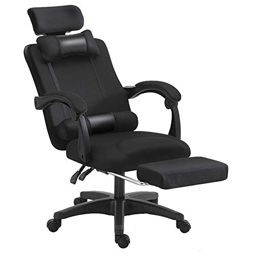 Gaming Chair Ergonomic Reclining Home Office Chair Computer Game Chair with Footrest High Back Racing Style Gamer Chair with Latex Backrest and Seat with Headrest and Lumbar Support,Black