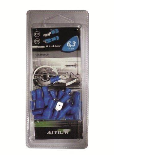 Altium - 802805 - 20 Cosses Plates 6.3 mm (10 M + 10 F) - Bleu