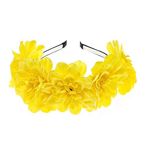 Yazilind Böhmische Emulation Große Pfingstrose Blumenstirnband Stirnband Haarschmuck Gelb