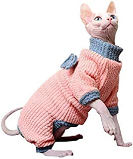 Khemn 丨LUXURY FABRICS丨Pink Knitted Cat Sweater Cat Jumpsuit with Bowknot, Made of Thick Cotton-Best for Hairless Cat