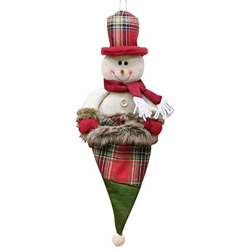 Duel Sac de BonbonsBonhomme de Neige de NoëlSachets Cadeaux de Fête Pochettes Cadeau pour Biscuits, Gâteaux, Chocolat, Snack Blanc Rouge Vert