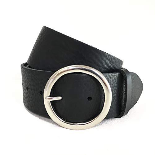 Breiter Schwarzer Ledergürtel - Silberne Runde Schnalle - Schwarzes Italienisches Leder - für Herren und Damen - Handgefertigt in London, England - 2 Zoll ca. 5cm - Kreisschnalle - Echtes Leder