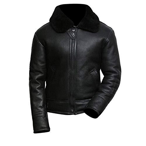 Fashion_First Herren B3 Fliegerjacke aus Lammfell, weiß, Fliegerjacke, Fliegerjacke aus schwarzem Schafsleder Gr. XL, Schwarz