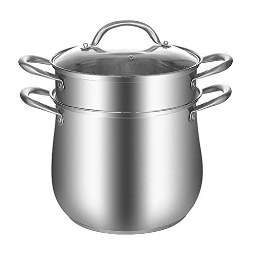 Soup pot Stainless Steel Thicken Home Soup Pan Safe Soup Pot with Lid Cookware, Silver soup pot quart (Color : B, Size : 27cm)