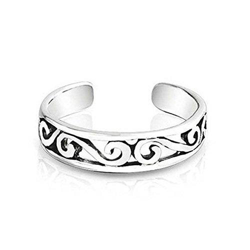 Vorra Fashion Mondevio - Anillo de dedo del pie para mujer, ajustable, plata de ley, diseño de espirales