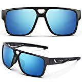 TOREGE Polarized Sports Sunglasses For Man Women Cycling Running Fishing Golf TR90 Unbreakable Frame TR14 lron Bone (Black&Black&Blue Lens)