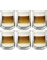 Amoro 6 x dubbelwandige glazen - thermoglazen voor cappuccino thee warme en koude dranken - vaatwasmachinebestendig (200 ml)