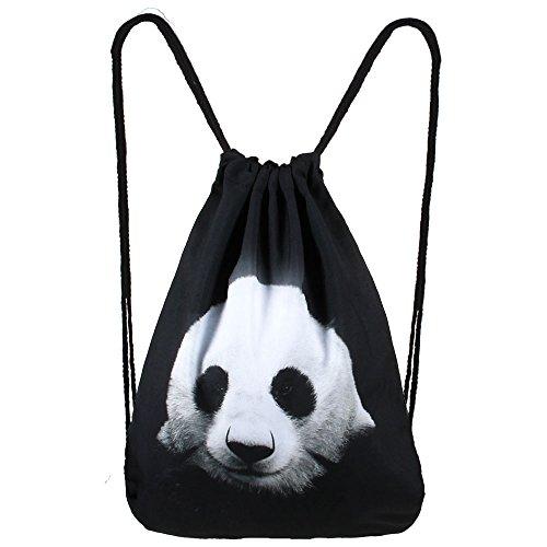 Hanessa Jutebeutel mit Black Panda-bär Tier Aufdruck Sportbeutel Tüte Rucksack Beutel Tasche Gym Bag Gymsack Hipster Fashion Sport-Tasche Einkaufs-Tasche schwarz