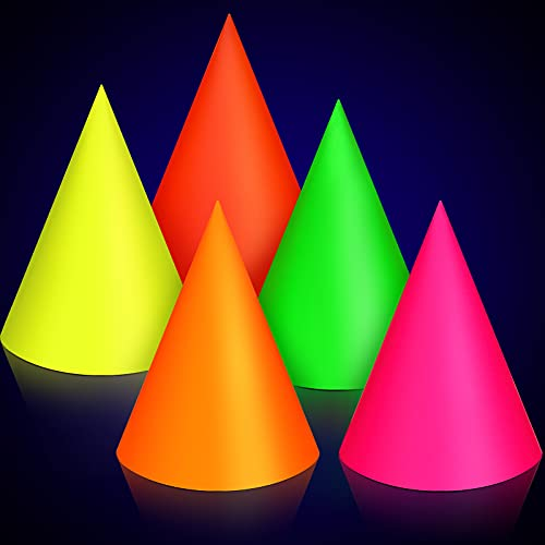 15 x Neon UV Cone Party Hats - Mixed Colours