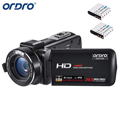 ORDRO Z20 Camcorder 1080P Full HD Video Kamera Vlogging Kamera (1080P 30FPS, 16X Digitalzoom, Pausenfunktion, 3.1 Zoll IPS Touch Screen) Video Camcorder mit 16GB SD Karte