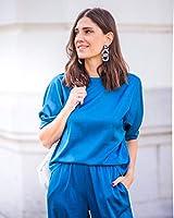 The Drop por @balamoda - Camiseta de manga farol para mujer, color azul zafiro (S)