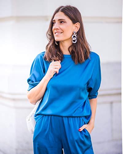 The Drop por @balamoda - Camiseta de manga farol para mujer, color azul zafiro