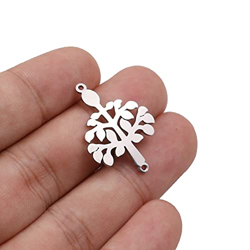 PJ 5 unids / lote de acero inoxidable Árbol de la vida de la vida de los encantos de la flexión de la pulsera conjunta con el collar de la pulsera del encanto del conector para BRICOLAJE Fabricación h