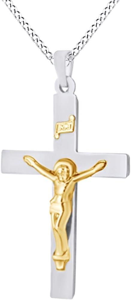 Affy, collana da uomo con ciondolo a forma di crocifisso in oro massiccio 10 k bicolore UK-M-CMP-RJ10486-WG